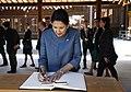 President Zourabichvili Signing Guest Book at Meiji Shrine.jpg