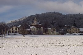A general view of Presles in the snow