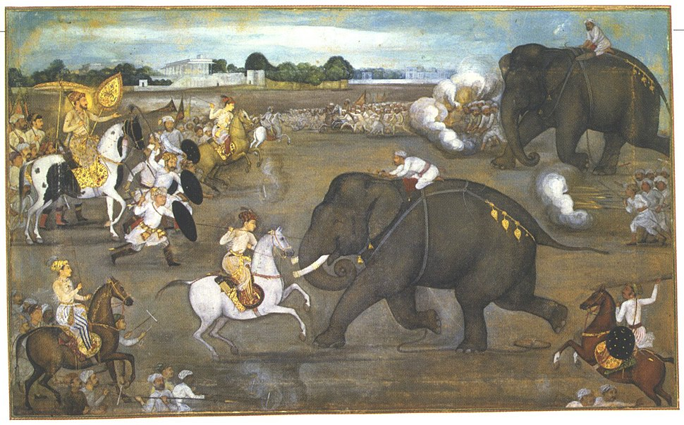 Prince Awrangzeb (Aurangzeb) facing a maddened elephant named Sudhakar (7 June 1633)