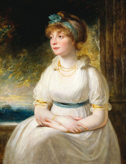The Prince of Wales commissioned Sir William Beechey to paint this in 1797, three years before Sophia supposedly gave birth to a child. Princess Sophia.jpg
