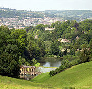 The Palladian bridge in Prior Park in Bath