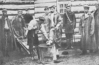 Bild aus Tschechows Reisebericht: Einem Sträfling werden Ketten angelegt