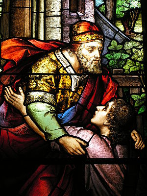Parable of the Prodigal Son - Stained glass window based on the parable, Charleston, South Carolina.