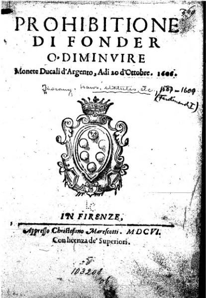 File:Prohibitione di fonder o' diminuire monete ducali d'argento.djvu