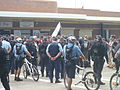 Protesters cross road to Cronulla Station under Police escort 01 P1020352.JPG