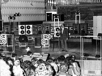 Pierre Schaeffer - Schaeffer presenting the Acousmonium.