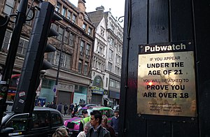 PubWatch - Image: Pub Watch sign on London street