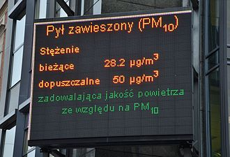 Particulates - Air quality information on PM10 displayed in Katowice, Poland