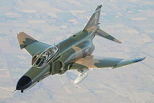 A U.S. Air Force F-4 flies with the 82d Aerial Targets Squadron over White Sands Missile Range on 18 November 2008.
