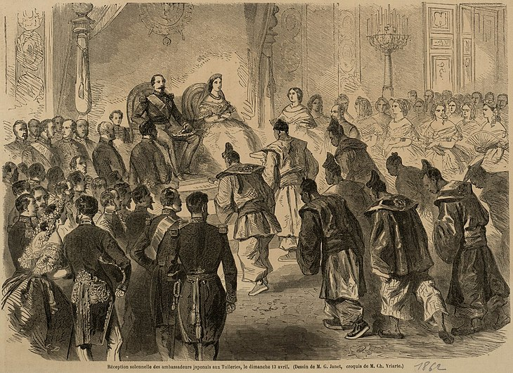 Réception des ambassadeurs du Japon par Napoléon III en 1862.jpg