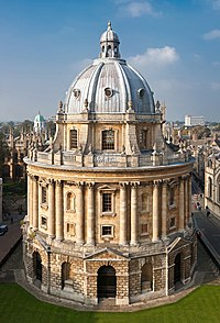 Radcliffe Camera as viewed from the tower of the Church of St Mary the Virgin
