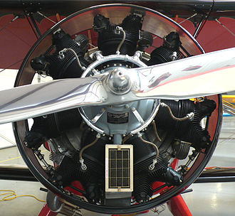 Radial engine in a biplane Radial engine WACO QCF2.jpg