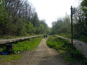 Greenway (landscape) - Railway Platforms on Parkland Walk, North London, England