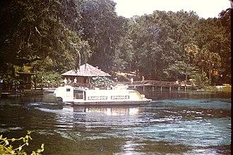 "Rainbow River - Rainbow Springs ""submarine"" sightseeing boat where passengers sat below the waterline looking out underwater windows around 1970"