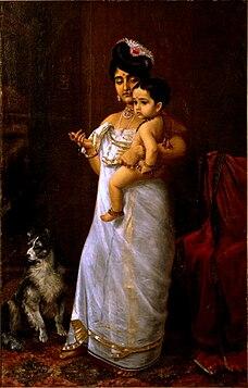 <i>There Comes Papa</i> 1893 painting by Raja Ravi Varma