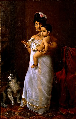 Raja Ravi Varma - Varma's daughter Mahaprabha with one of her sons