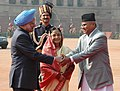Ram Baran Yadav being welcomed by the President, Smt. Pratibha Devisingh Patil and the Prime Minister, Dr. Manmohan Singh on his arrival at the ceremonial reception, at Rashtrapati Bhawan, in New Delhi on February 16, 2010 (2).jpg