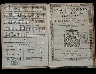 """Sebastián Raval - """"Lamentationes Ieremiae prophetae quinque vocum"""". Romae 1594"""