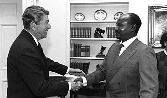 Uganda–United States relations - President Reagan meeting with President Museveni in 1987