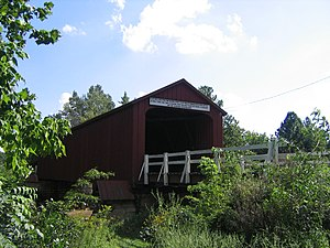 Red Covered Bridge (Illinois) - Shown with its white guardrail