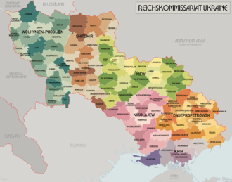 Reichskommissariat Ukraine - Administrative map, September 1942.