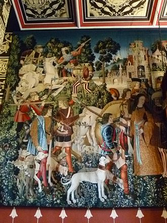 Scottish Royal tapestry collection - Unicorn tapestry woven in 2010, in Mary of Guise's Audience Chamber at Stirling Castle