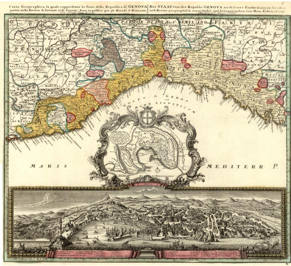 Republic of Genoa map by Homann Erben