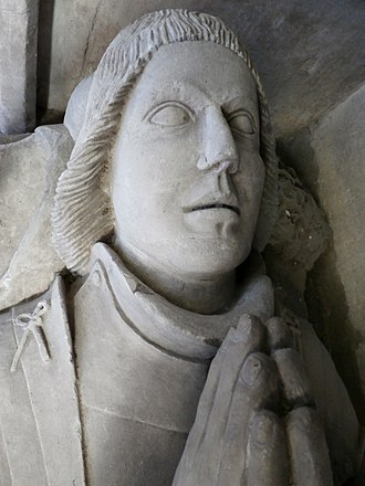 Newnham (Old) - Effigy of Richard II Strode (d.1464) of Newnham, detail from his canopied monument in St Mary's Church, Plympton