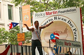 Puerto Ricans in the United States - Ricky Martin at the annual Puerto Rican parade in New York City.
