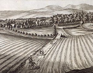 Scottish Agricultural Revolution - Runrig farming outside the town of Haddington, East Lothian c. 1690