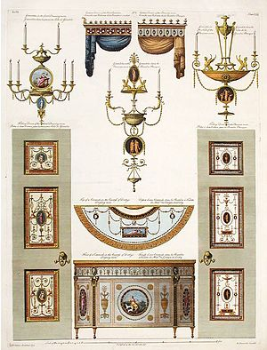 Adam style - Details for Derby House in Grosvenor Square, an example of the Adam brothers' decorative designs.