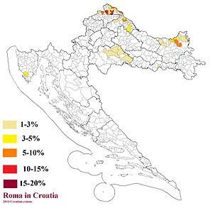 Romani people in Croatia - Romani by municipality, according to the 2011 Croatian census