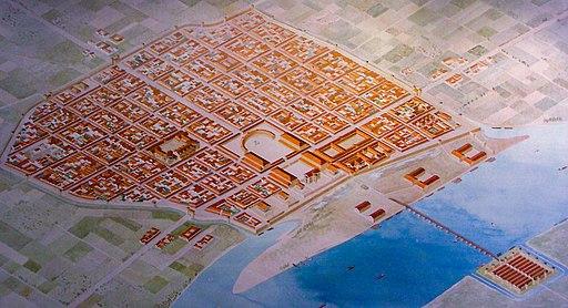 Rekonstruktionszeichnung der römischen Provinzhauptstadt  Niedergermaniens, Colonia Claudia Ara Agrippinensium (heute: Köln) Roman Cologne, reconstruction