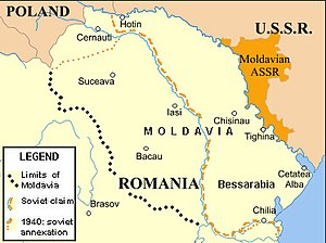 Moldavian Autonomous Soviet Socialist Republic - Romania, and east of it Moldavian ASSR in the USSR