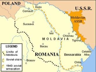 Moldavian Autonomous Soviet Socialist Republic - Romania, and east of it Moldavian ASSR in the USSR