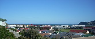 Rongotai - The south end of Rongotai, showing (left to right) part of the airport runway, the retail park, and part of Rongotai College.