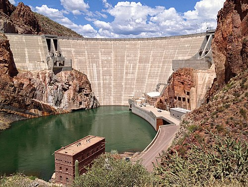 The Theodore Roosevelt Dam, the first and largest of the dams on the Salt River in central Arizona.