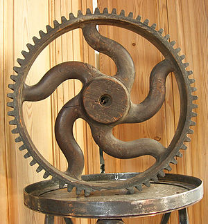Pattern (casting) - Wooden pattern for a cast-iron gear with curved spokes