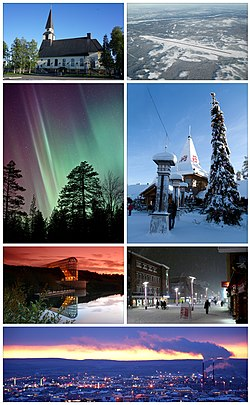 Clockwise from top: the Rovaniemi Church, the Rovaniemi Airport, the Santa Claus Village, downtown Rovaniemi, a view of the city from Ounasvaara, the Arktikum Science Museum, and aurora borealis in Someroharju.