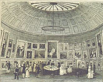 Royal Birmingham Society of Artists - The exhibition room in 1829