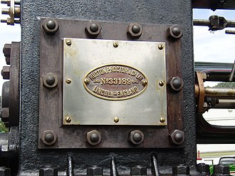 Ruston, Proctor and Company - Works plate on a Ruston, Proctor and Co. traction engine