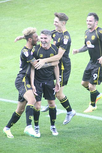 Ryan Lowe - Ryan Lowe is congratulated by teammates after scoring the opening goal for Crewe Alexandra in a 2–1 win at Stevenage (6 August 2016).