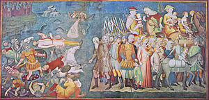 Collegiate Church of San Gimignano - Pharaoh and his soldiers are drowned crossing the Red Sea, from the Old Testament cycle by Bartolo di Fredi
