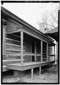 SOUTH REAR, SHOWING PORCH RECONSTRUCTION - Kolb House, Powder Springs Road, Kennesaw, Cobb County, GA HABS GA,34-KENN,1A-5.tif