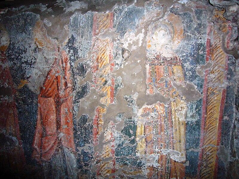 S Crisogono sub - VIII sec. affreschi cripta - Crisogono, Rufino e Anastasia 1120227.JPG