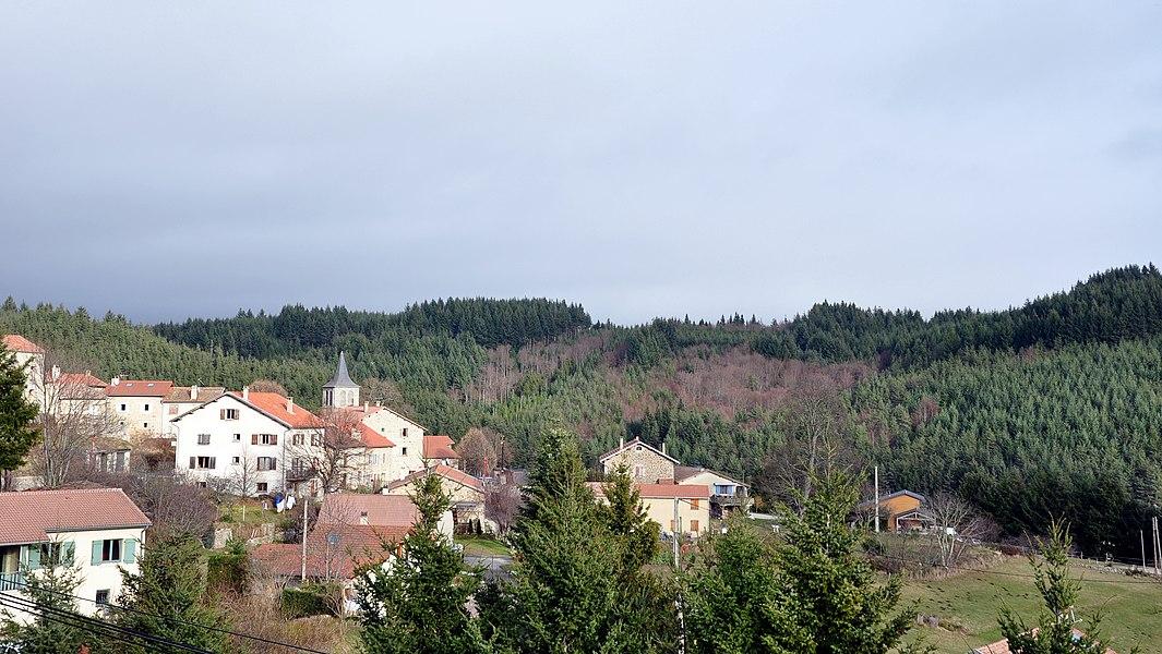 Saint-Jean-Roure depuis la route de Saint-Agrève (D478).