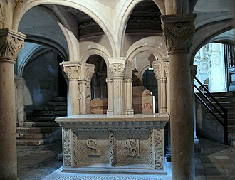 Saint Maxentius - The crypts of Saints Maxentius and Léger.  Abbey of Saint-Maixent-l'École.