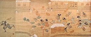 Sakuradamon Incident (1860) - A depiction of the Sakuradamon incident – on the left, a samurai runs with a severed head.
