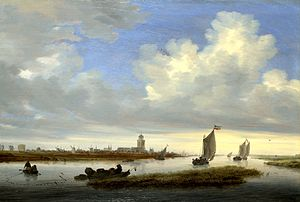 Salomon van Ruysdael - View of Deventer Seen from the North-West by Salomon van Ruisdael (1657) Oil on oak, 52 x 76 cm. National Gallery, London