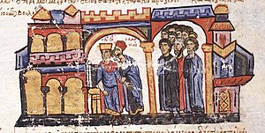 Stylianos Zaoutzes - Samonas revealing Basil's plot against Leo VI. Miniature from the Madrid Skylitzes